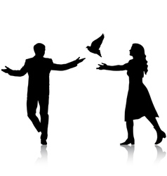 Concept of love or peace Silhouettes girl and guy vector image vector image