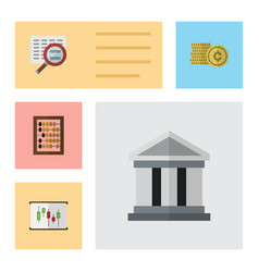 Flat icon incoming set of cash diagram scan and vector