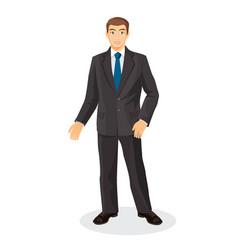 Handsome gentleman in elegant suit with blue tie vector