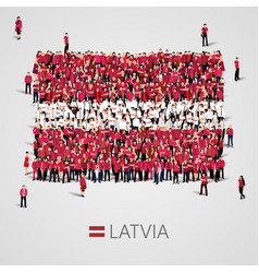large group of people in the shape of latvian flag vector image vector image