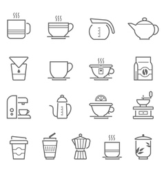 Lines icon set - coffee and tea vector image