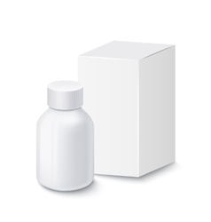Medical plastic bottle for pills with carton box vector image