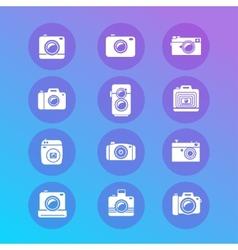 photo camera retro and new icon set vector image