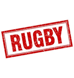 Rugby Red Square Grunge Stamp On White Vector Image
