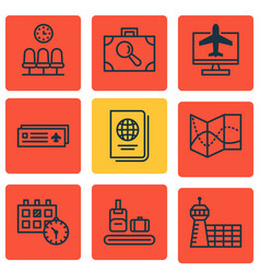 set of 9 traveling icons includes road map vector image