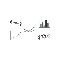 Set of business symbols with graph currency vector image vector image