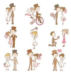 Wedding doodles - design elements vector