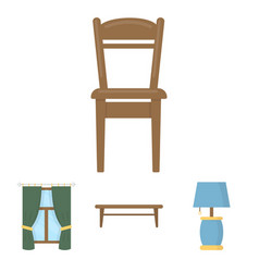 a coffee table a lamp curtains a chair vector image