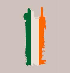 factory icon and grunge brush ireland flag vector image