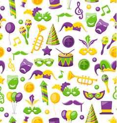 Seamless texture with set carnival and mardi gras vector