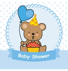 bear with cupcake vector image vector image