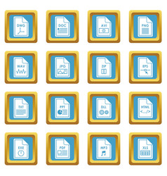 file format icons azure vector image