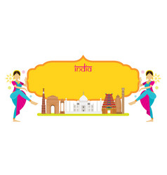 india landmarks with traditional dancer frame vector image vector image