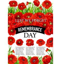11 november remembrance day poppy poster vector