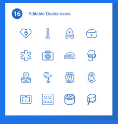 16 doctor icons vector image