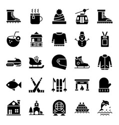 Adventure and hiking glyph icons pack vector