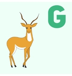 Alphabet letter g gazelle children vector
