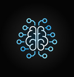 Artificial intelligence brain blue icon in vector