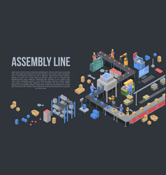 Assembly line factory concept background vector