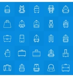 Backpack suitcase handbag icons vector image
