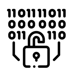 Binary security code icon outline vector