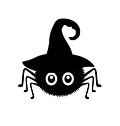 black spider in witch hat isolated on white vector image