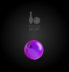 Bowling bowl on the dark background as design vector image