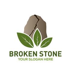 Broken stone logo design vector