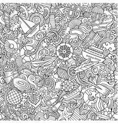 Cartoon cute doodles hand drawn marine seamless vector