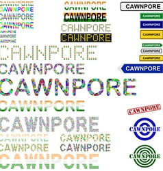 Cawnpore text design set vector image