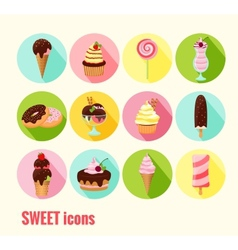 Collection of sweet icons vector image