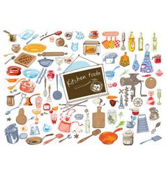 Colorful doodle kitchen elements set vector