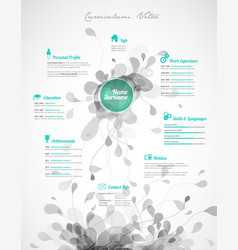 creative green color cv resume template vector image vector image