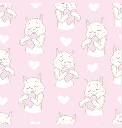 cutie cat seamless pattern vector image