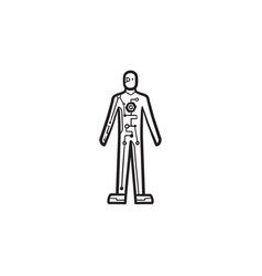 cyborg body hand drawn outline doodle icon vector image