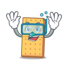 Diving graham cookies character cartoon vector