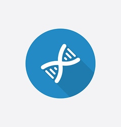 DNA Flat Blue Simple Icon with long shadow vector