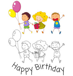 doodle children celebrate birthday vector image