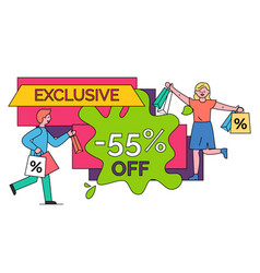 exclusive offer from shop 55 percent off banner vector image