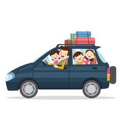 Family traveling together on vacations vector