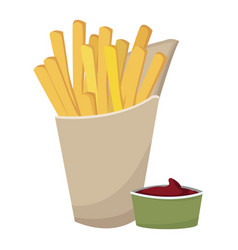 fast food french fries tasty paper box with vector image