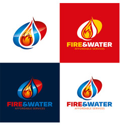 Fire and water restoration icon and logo vector