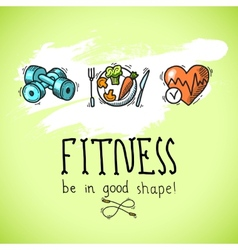 Fitness sketch poster vector image