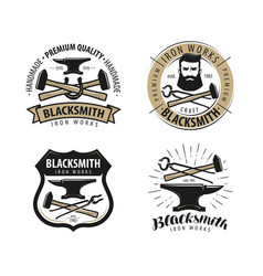 forge blacksmith logo or label blacksmithing set vector image