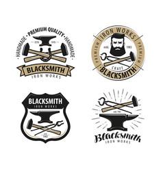 Forge blacksmith logo or label blacksmithing set vector