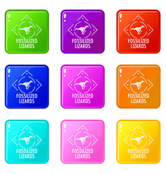 Fossilized lizard icons set 9 color collection vector
