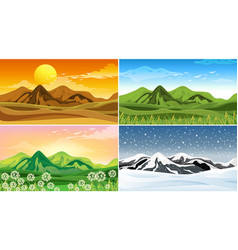 four nature scene at different seasons vector image