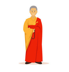 Full body of buddhist monk with orange robes vector