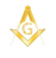 Golden masonic square and compass symbol vector