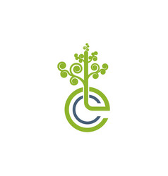 green leafs logo yoga logo natural and organic vector image